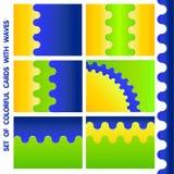 Uppsättning av tre-färg kort stock illustrationer