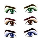 Uppsättning av tre färgrika flickas ögon Arkivfoton