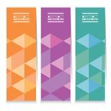 Uppsättning av tre färgrika geometriska vertikala baner stock illustrationer