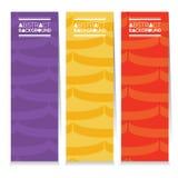 Uppsättning av tre färgrika grafiska modelllodlinjebaner stock illustrationer