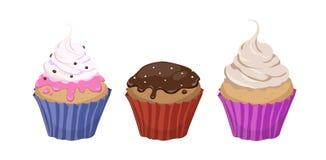 Uppsättning av tre färgrika tecknad filmillustrationer av muffin med cre Arkivfoton