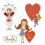 Uppsättning av tre förälskat för flickor som isoleras på vit bakgrund stock illustrationer