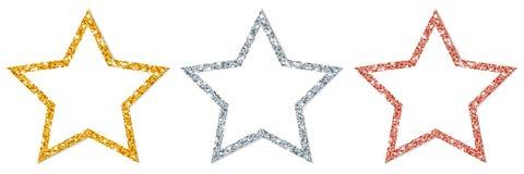 Uppsättning av tre inramade stjärnor som mousserar guldsilverkoppar royaltyfri illustrationer