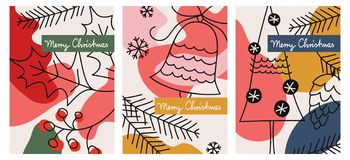 Uppsättning av tre julhälsningkort vektor illustrationer