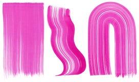 Uppsättning av tre rosa penseldrag Royaltyfria Bilder