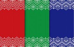 Uppsättning av tre stack julbakgrunder Sömlös geometrisk prydnad för olika färger royaltyfri illustrationer