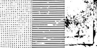 Uppsättning av tre svartvit hand drog texturer för din design Arkivbild