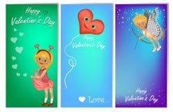Uppsättning av tre vertikala baner för dag för valentin` s med gulliga ungar i dräkt stock illustrationer