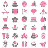 Uppsättning av trettio Wellnesssymboler rosa färger och grå färger royaltyfri illustrationer