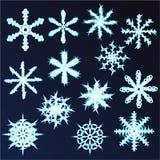 Uppsättning av tretton snöflingor Design för nytt år och jul Royaltyfri Bild