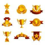 Uppsättning av trofén, medaljer och utmärkelsen stock illustrationer