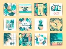 Uppsättning av tropiska designer för sommar Denna är mappen av formatet EPS8 stock illustrationer