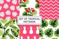 Uppsättning av tropiska modeller för sommar stock illustrationer
