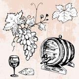 Uppsättning av trumman av vin, druva, vinglas och ost royaltyfri illustrationer