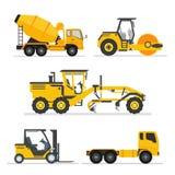 uppsättning av tunga maskiner för konstruktion medelkonstruktionsutrustning för byggande Vägväghyvel, konkret lastbil för cementb stock illustrationer