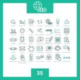 Uppsättning av 35 tunn linje enkla SEO-symboler Vektor Illustrationer