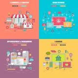 Uppsättning av 4 tunn linje lägenhetdesignbegrepp för det sociala nätverket, e-kommers för internetmassmediaservice royaltyfri illustrationer