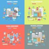 Uppsättning av 4 tunn linje lägenhetdesignbegrepp för formgivare, utbildning och lärande, virus- och video marknadsföring Royaltyfri Fotografi