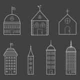 Uppsättning av tunna byggnadssymboler Arkivfoton