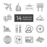 Uppsättning av tunna fodrade skisserade symboler för flygplanlopp Arkivbilder