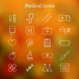 Uppsättning av tunna medicinska symboler Arkivfoto