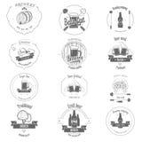 Uppsättning av två emblem för färgölhantverk Arkivbild