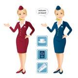 Uppsättning av två flygvärdinnor och symbolerna royaltyfri illustrationer