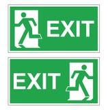 Uppsättning av två gröna evakueringstecken för vektor Vänster brandutgång som är höger och Arkivfoto