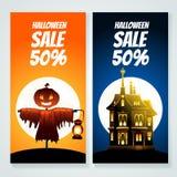 Uppsättning av två halloween försäljningsbaner, stock illustrationer