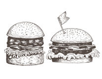 Uppsättning av två hamburgare dragit färgpulver Royaltyfri Bild