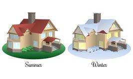 Uppsättning av två hus i sommar- och vintertid royaltyfri bild