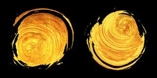 Uppsättning av två runda guldfläckar royaltyfri illustrationer