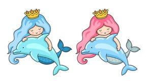 Uppsättning av två sjöjungfruar med delfin royaltyfri illustrationer