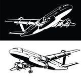 Uppsättning av två som nivån landar och startkugghjulet, på en symbol för vit- och svartbakgrundsflygplan i en monokrom stil Royaltyfri Foto