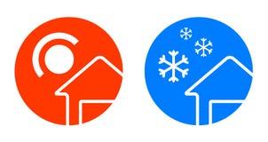 Uppsättning av två vädersymboler Arkivfoto