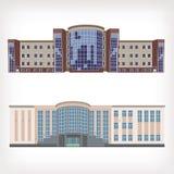 Uppsättning av två vektorköpcentra eller hotell Fotografering för Bildbyråer
