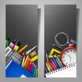Uppsättning av två vertikala baner med skolatillförsel royaltyfri illustrationer