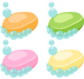 Uppsättning av tvålstången med bubblor - vektorillustration Royaltyfria Foton