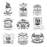 Uppsättning av typografisk bakgrund för citationstecken om te och kaffe för varm choklad Arkivbild
