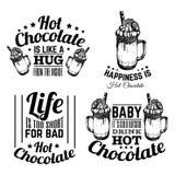 Uppsättning av typografisk bakgrund för citationstecken om varm choklad Arkivbild