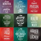 Uppsättning av typografiska bakgrunder för tappning/Motivational citationstecken Royaltyfri Foto