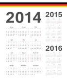 Uppsättning av tysk 2014, 2015, 2016 år vektorkalendrar Arkivbilder