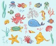 Uppsättning av undervattens- djur Arkivbilder