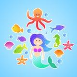 Uppsättning av undervattens- klistermärkear för gullig sjöjungfru Royaltyfri Bild