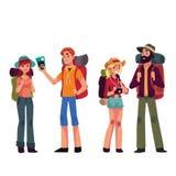 Uppsättning av unga manliga och kvinnliga handelsresande med ryggsäckar royaltyfri illustrationer