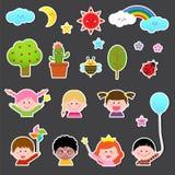 Uppsättning av ungar och den gulliga naturbeståndsdelen royaltyfri illustrationer