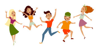Uppsättning av ungdomar, tonåringar som dansar och att ha gyckel stock illustrationer