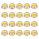 Uppsättning av ungeansiktsbehandlingsinnesrörelser Blond pojkeframsida med olika uttryck Arkivfoton