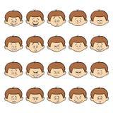 Uppsättning av ungeansiktsbehandlingsinnesrörelser Pojkeframsida för mörkt hår med olika uttryck Fotografering för Bildbyråer