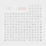 Uppsättning av 170 universell modern tunn linje symboler för rengöringsduk och mobil Royaltyfri Fotografi
